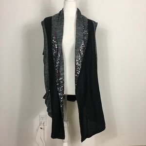 Juicy Couture Grey and Black Sparkle Vest